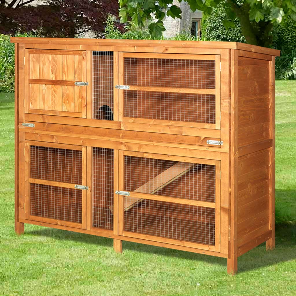 Home and roost 4ft chartwell double luxury rabbit hutch for What is a rabbit hutch